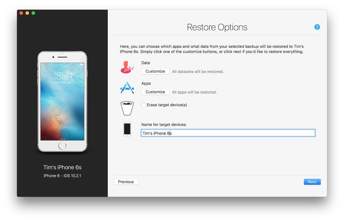 Restore a backup -